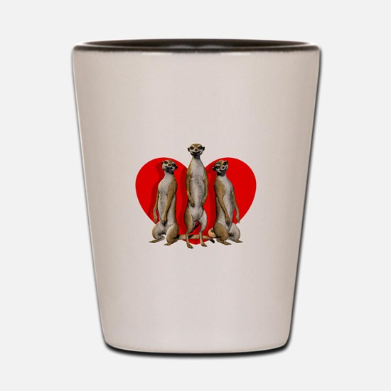 Heart Meerkats Shot Glass