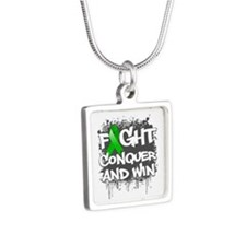 Mental Health Fight Silver Square Necklace
