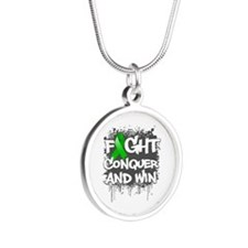 Mental Health Fight Silver Round Necklace
