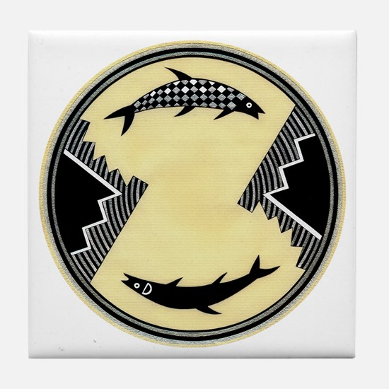 MIMBRES CLOCKWISE FISH BOWL DESIGN Tile Coaster