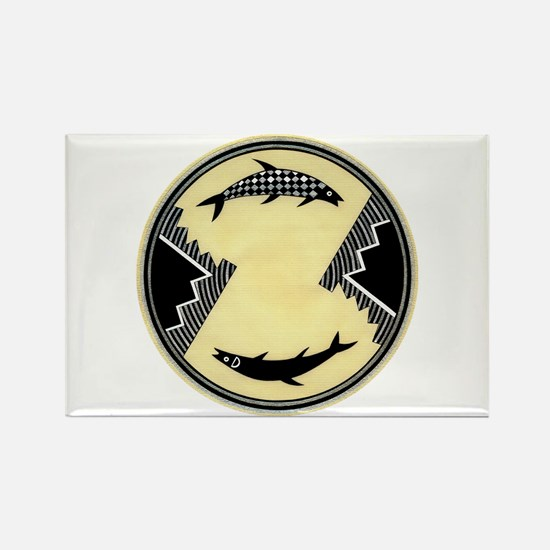 MIMBRES CLOCKWISE FISH BOWL DESIGN Rectangle Magne