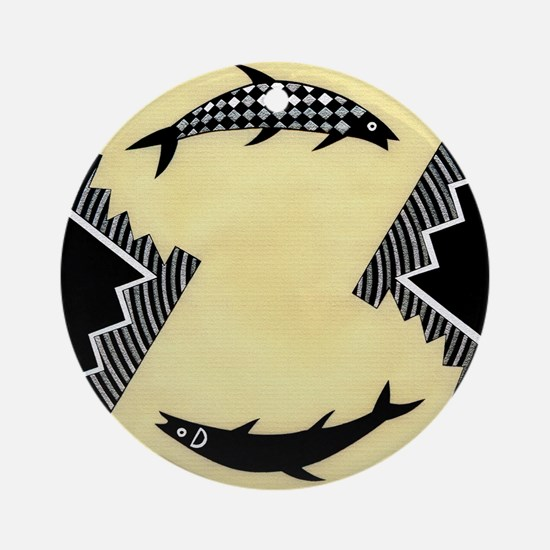 MIMBRES CLOCKWISE FISH BOWL DESIGN Ornament (Round