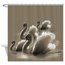 Bevy Of Swans (Tan) Shower Curtain