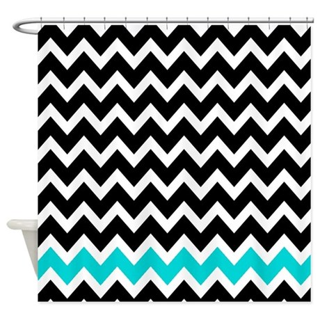 Black And Turquoise Zigzags 1 Shower Curtain By ShowerCurtainsWorld