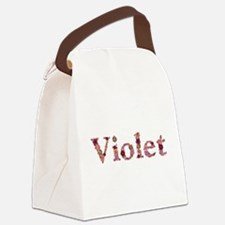 Violet Pink Flowers Canvas Lunch Bag