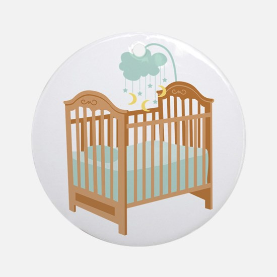 Crib with Sky Mobile Ornament (Round)