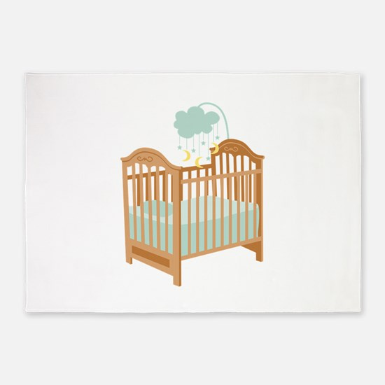 Crib with Sky Mobile 5'x7'Area Rug