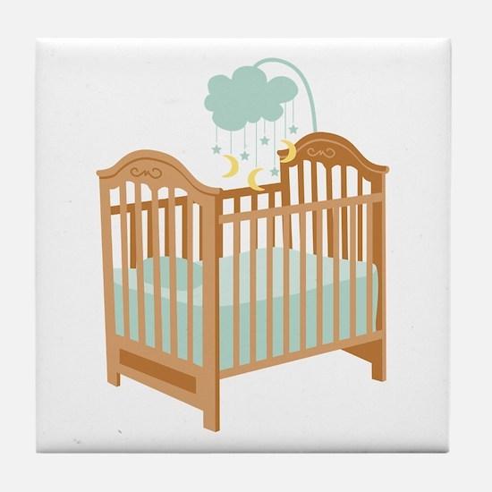Crib with Sky Mobile Tile Coaster