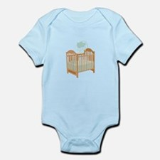 Crib with Sky Mobile Body Suit