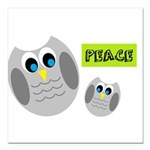 PEACE Owls Square Car Magnet 3
