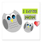 I LOVE MOM Square Car Magnet 3