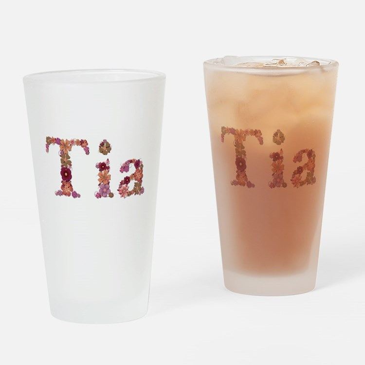 Tia Pink Flowers Drinking Glass
