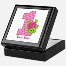 Personalized Pink Turtle 1st Birthday Keepsake Box