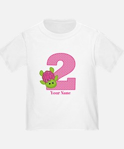 Personalized Pink Turtle 2nd Birthday T