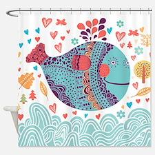 Whimsical Whale Shower Curtain