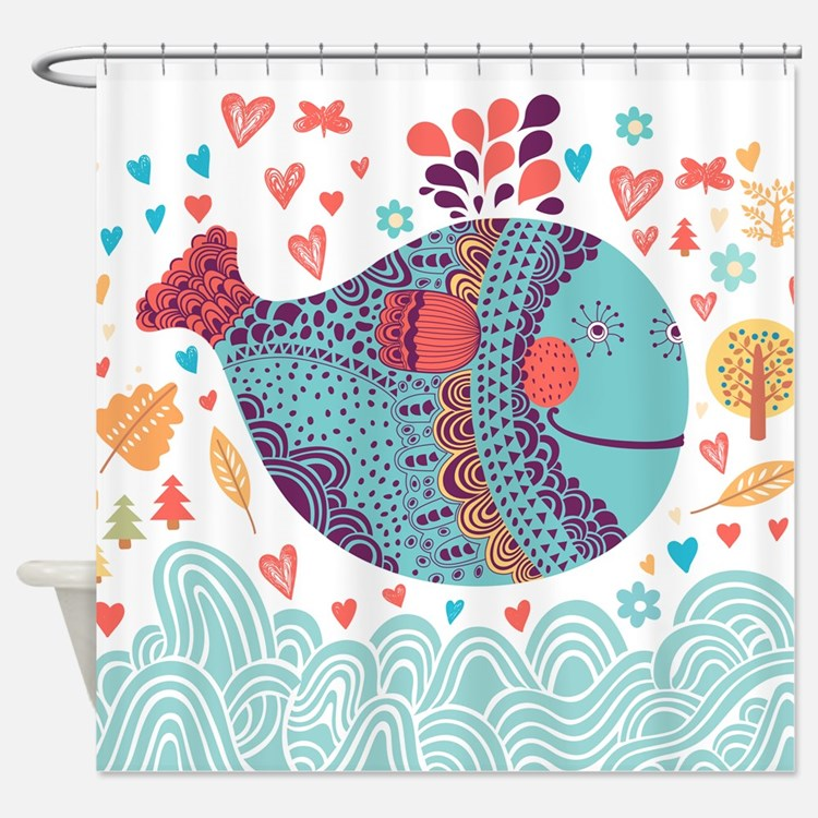 Whimsical Whale Shower Curtain