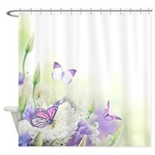 Flowers With Butterflies Shower Curtain