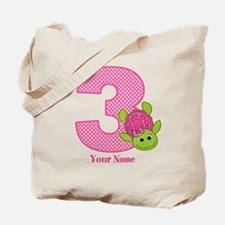 Personalized Pink Turtle 3rd Birthday Tote Bag