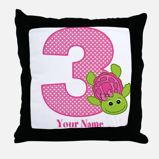 Personalized Pink Turtle 3rd Birthday Throw Pillow