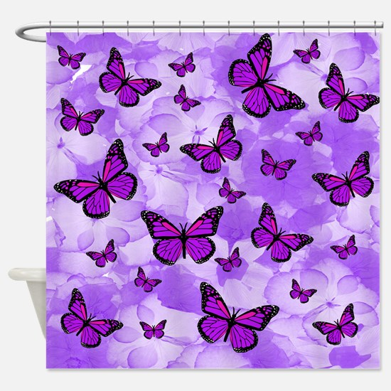 PURPLE FLOWERS AND BUTTERFLIES Shower Curtain