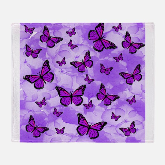 PURPLE FLOWERS AND BUTTERFLIES Throw Blanket