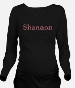 Shannon Pink Flowers Long Sleeve Maternity T-Shirt