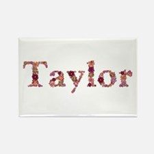 Taylor Pink Flowers Rectangle Magnet