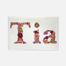 Tia Pink Flowers Rectangle Magnet