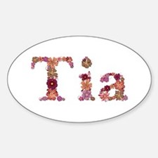 Tia Pink Flowers Oval Decal