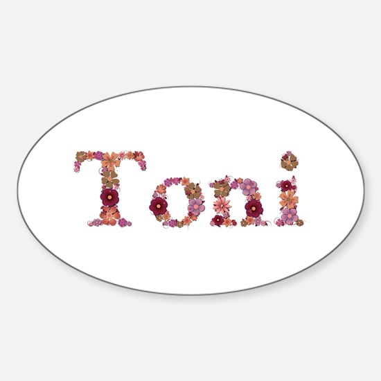 Toni Pink Flowers Oval Decal