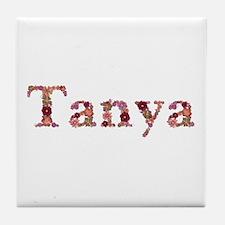 Tanya Pink Flowers Tile Coaster