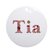 Tia Pink Flowers Round Ornament