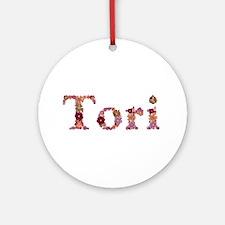 Tori Pink Flowers Round Ornament