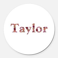 Taylor Pink Flowers Round Car Magnet