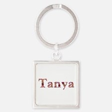 Tanya Pink Flowers Square Keychain