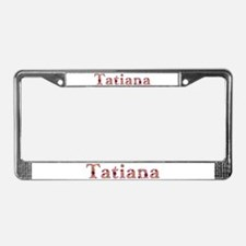 Tatiana Pink Flowers License Plate Frame
