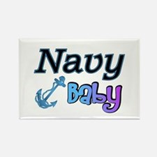 Navy Baby blue anchor Rectangle Magnet