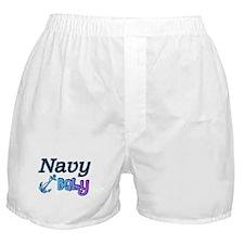 Navy Baby blue anchor Boxer Shorts