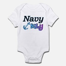 Navy Baby blue anchor Infant Bodysuit
