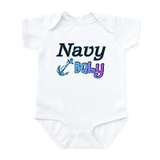 Navy Baby blue anchor Onesie