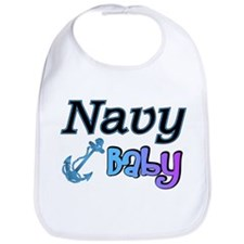 Navy Baby blue anchor Bib