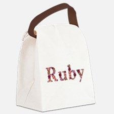 Ruby Pink Flowers Canvas Lunch Bag