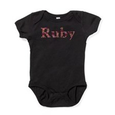 Ruby Pink Flowers Baby Bodysuit