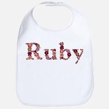 Ruby Pink Flowers Bib
