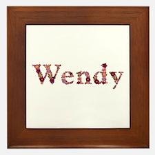 Wendy Pink Flowers Framed Tile