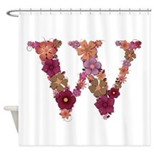 W Pink Flowers Shower Curtain