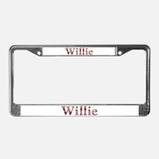 Willie Pink Flowers License Plate Frame