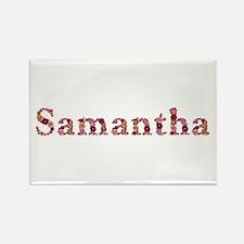 Samantha Pink Flowers Rectangle Magnet