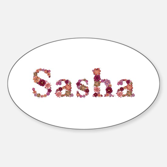 Sasha Pink Flowers Oval Decal