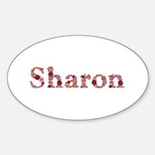 Sharon Pink Flowers Oval Decal